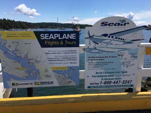 Several Gulf Islands are serviced by seaplane companies, these signs on Salt Spring Island.